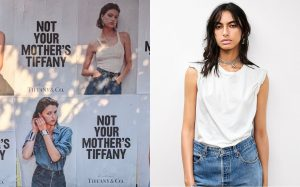 Picture showing the Not Your Mother's Tiffany billboard ads next to a young model wearing Tiffany jewellery